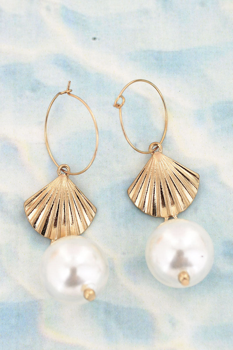 Goldtone Clam Shell Hoop Earrings