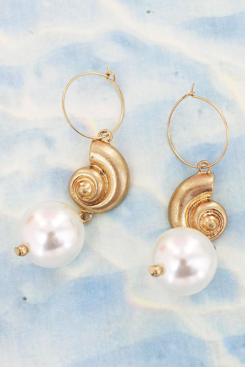 Goldtone Nautilus Hoop Earrings