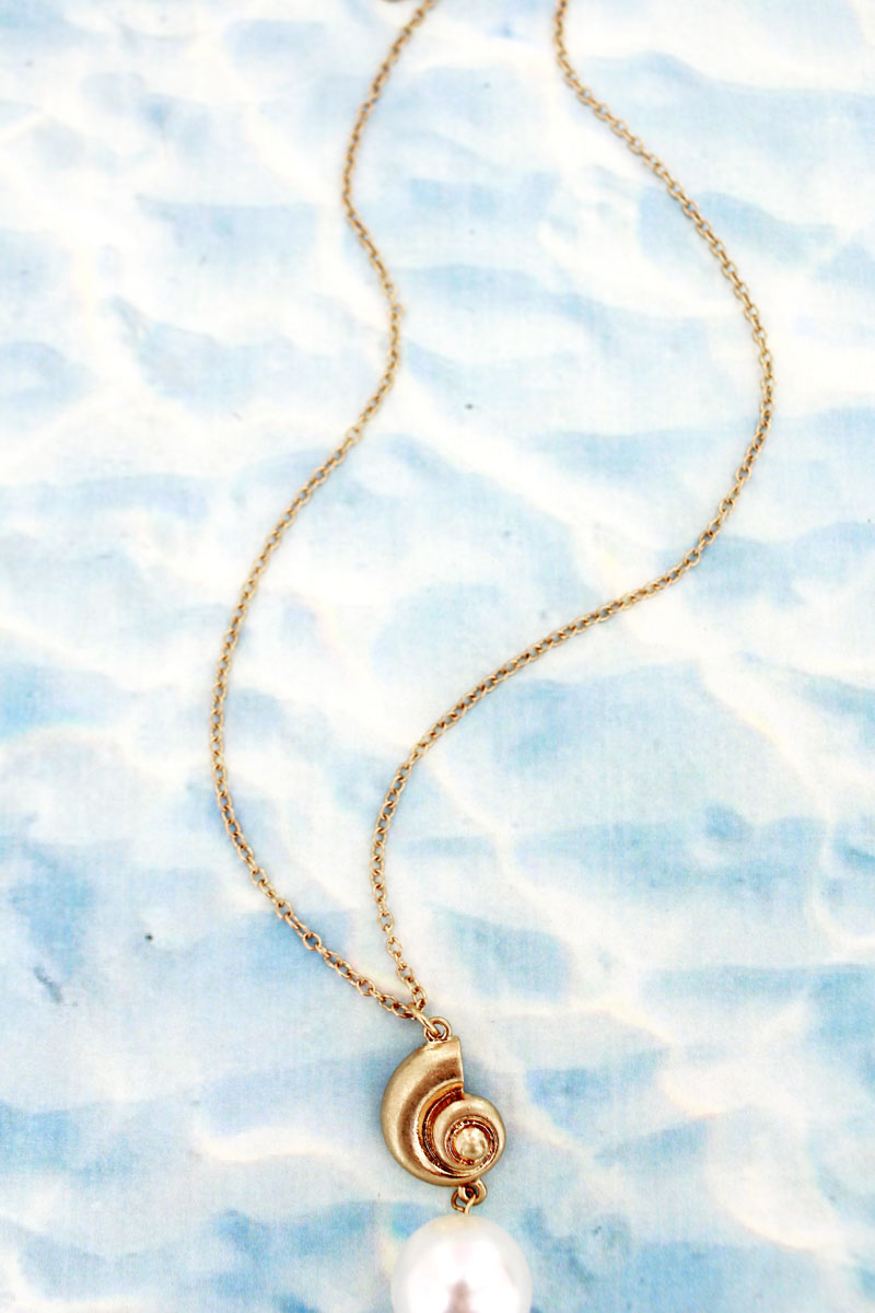 Goldtone Nautilus and Pearl Necklace