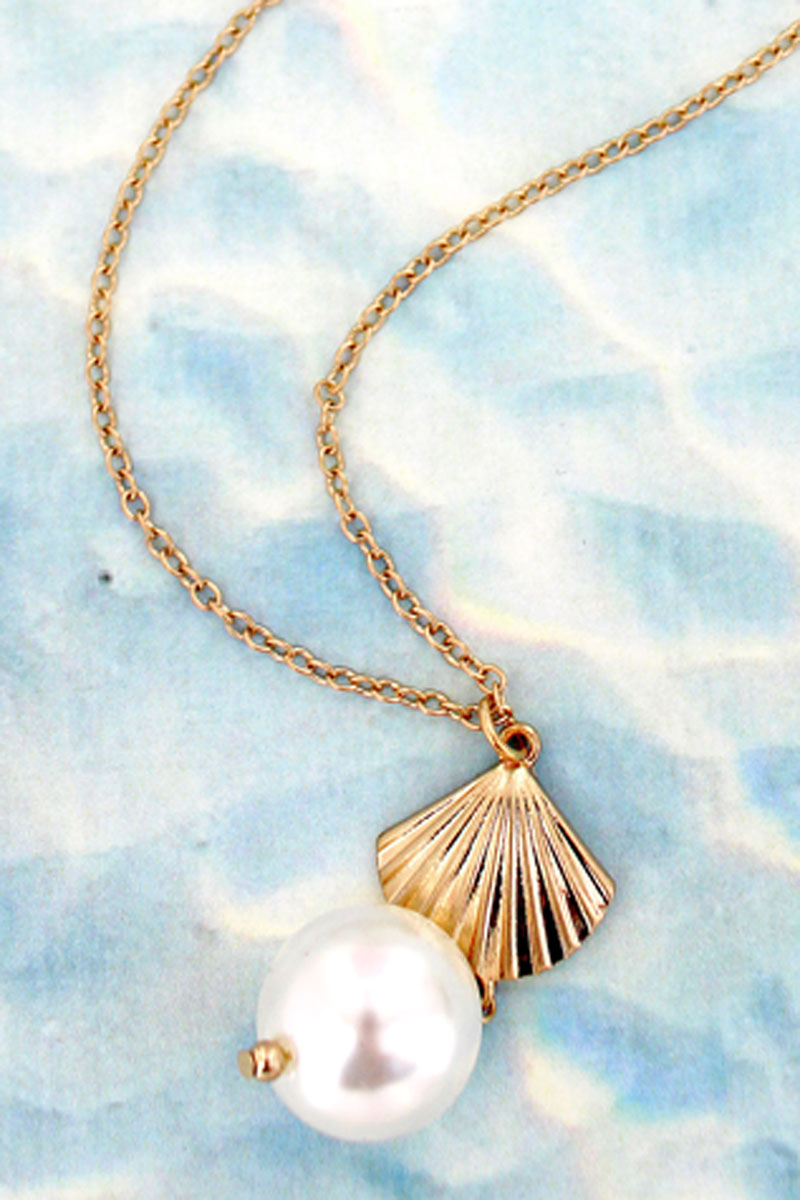 Goldtone Clam Shell and Pearl Long Necklace
