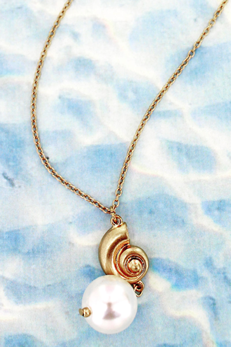 Goldtone Nautilus and Pearl Long Necklace