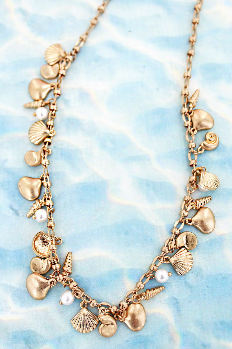 Goldtone Seashell and Pearl Charm Necklace