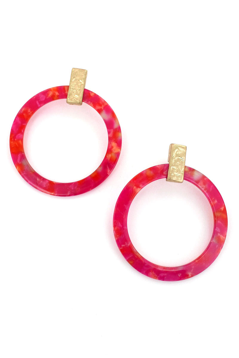 Goldtone Coral Marbled Flat Hoop Earrings, 2.75""