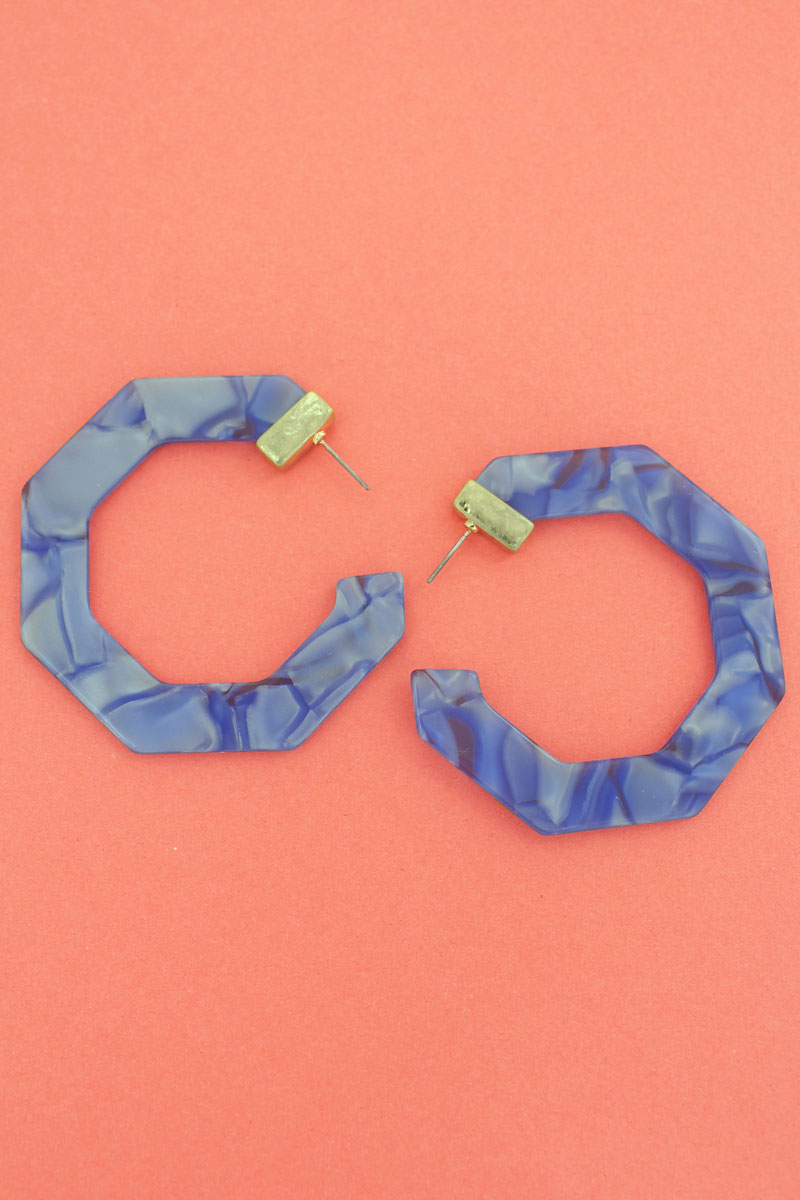 Goldtone Blue Marbled Flat Hexagon Hoop Earrings, 2.5""