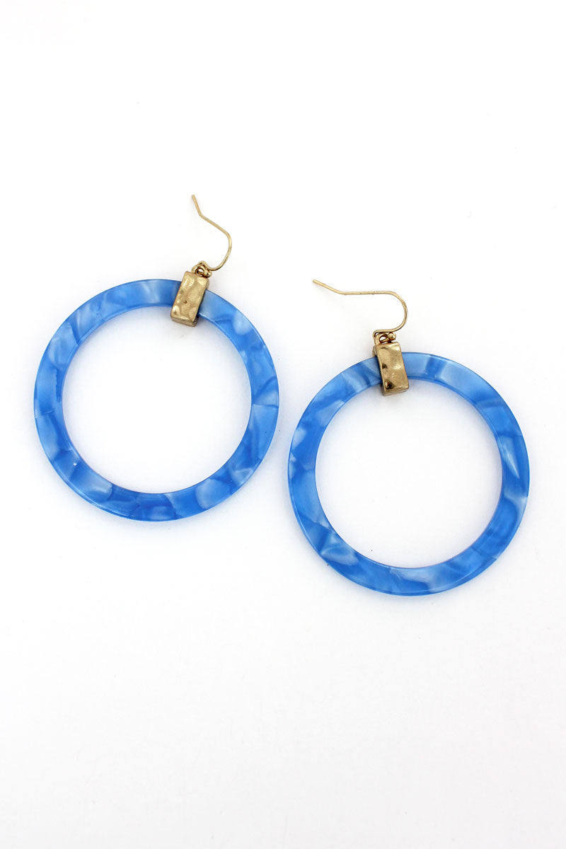 Goldtone Blue Marbled Flat Hoop Earrings
