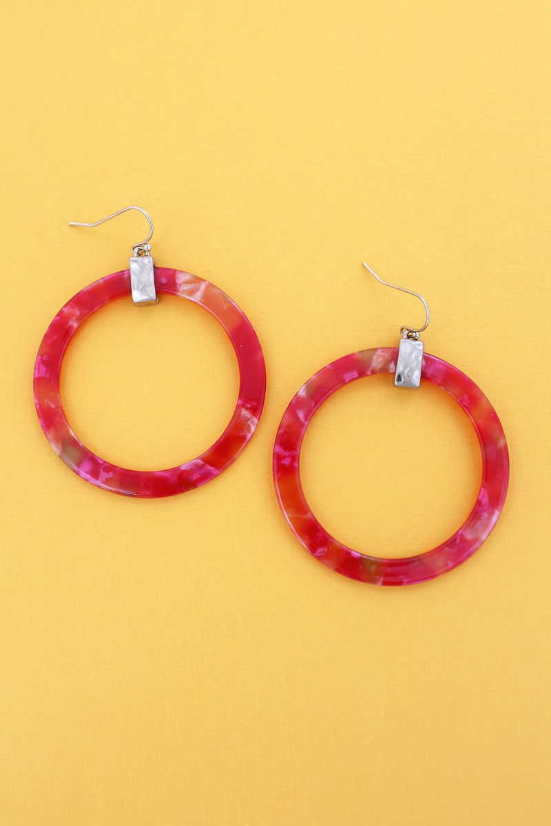 Goldtone Coral Marbled Flat Hoop Earrings