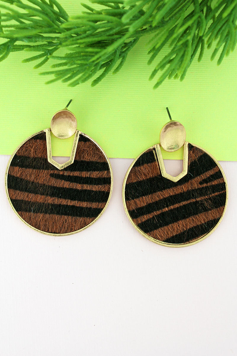 Goldtone and Tiger Faux Fur Cut-Out Disk Earrings