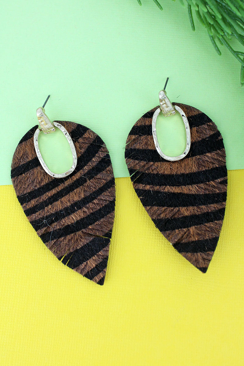 Goldtone and Tiger Faux Fur Cut-Out Shredded Petal Earrings