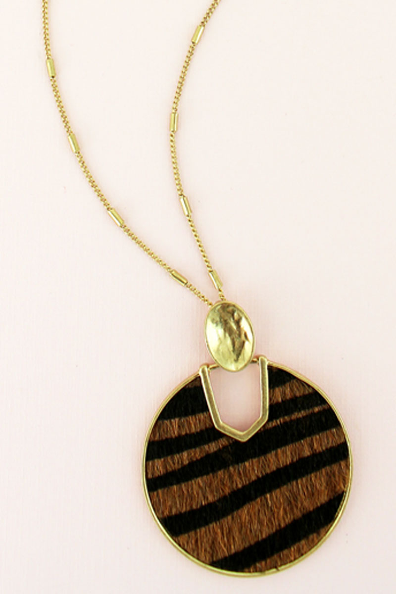 Goldtone and Tiger Faux Fur Cut-Out Disk Necklace