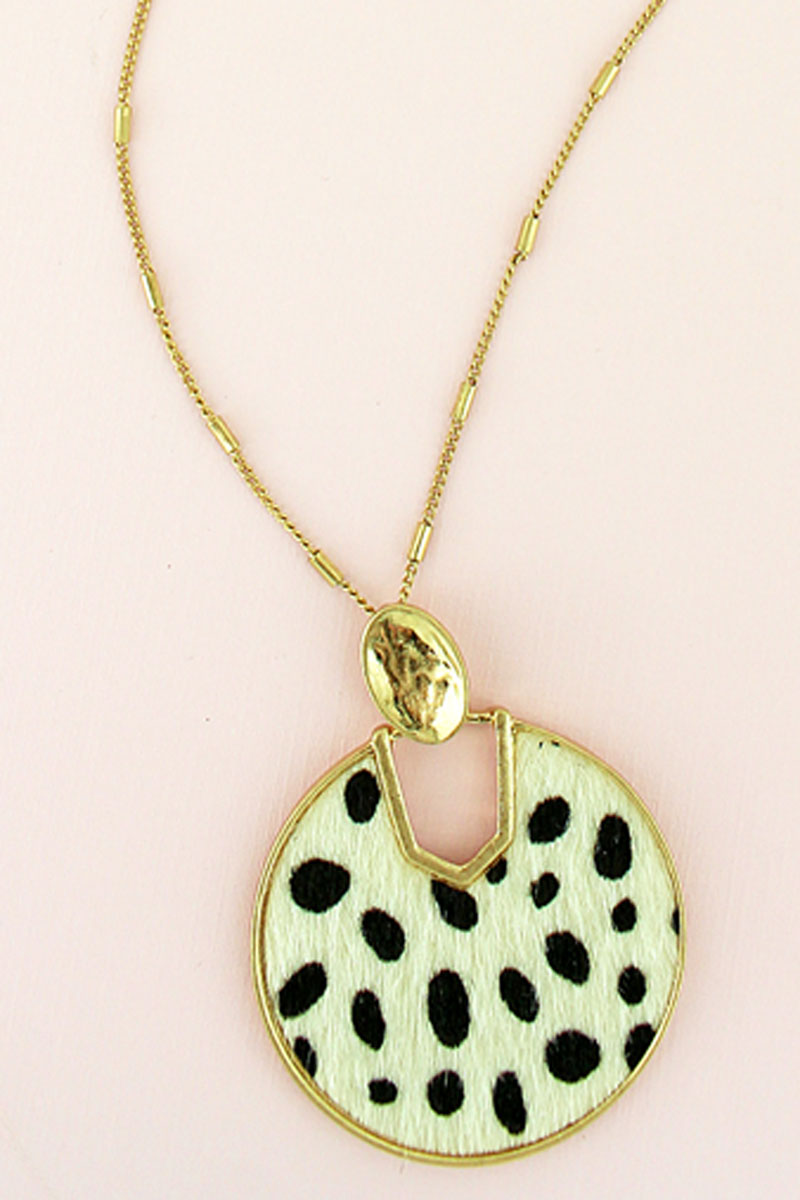 Goldtone and White Cheetah Faux Fur Cut-Out Disk Necklace