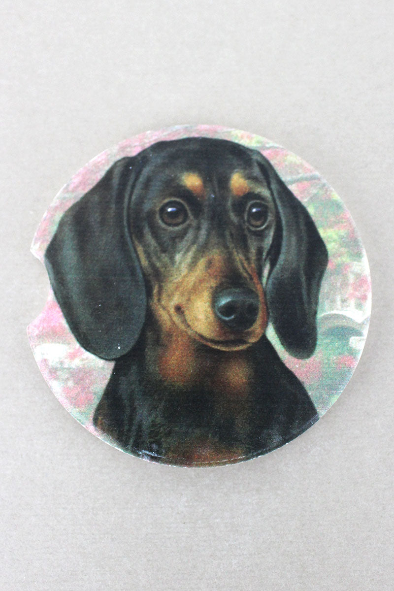 Black Dachshund Car Coaster