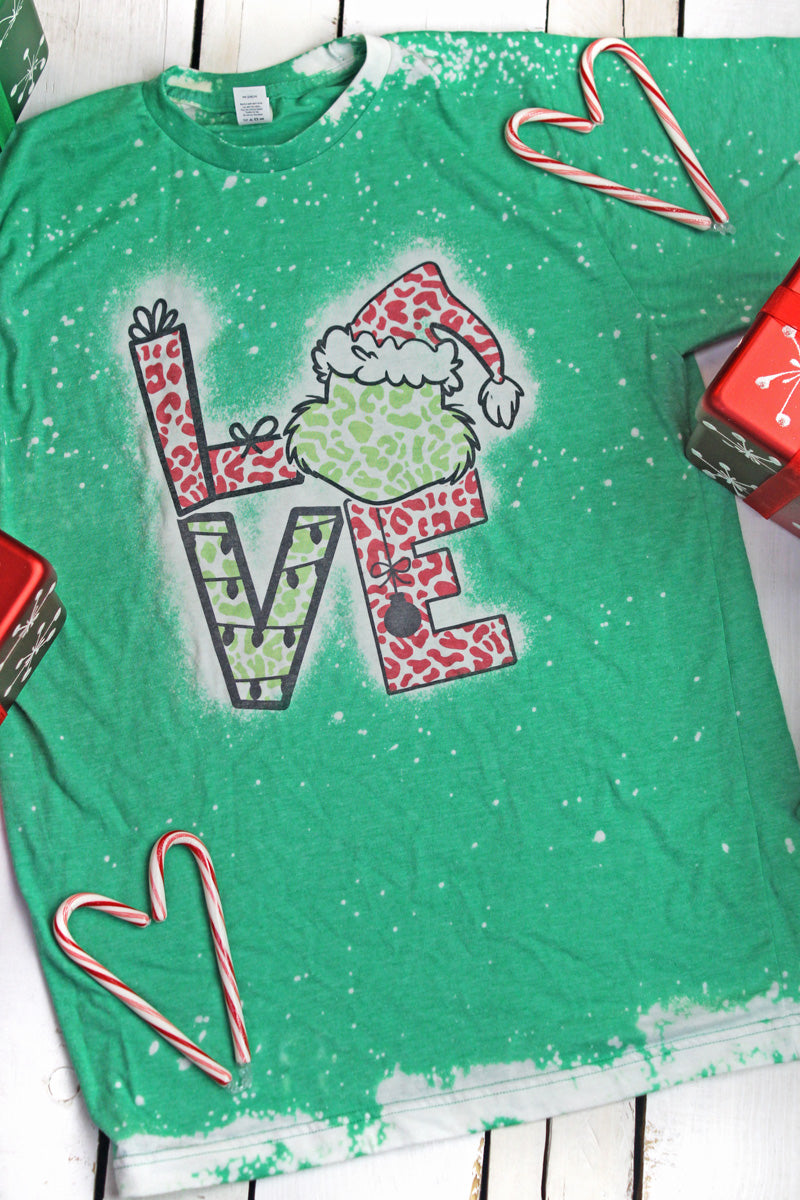 Bleached Grinch Love Leopard Unisex Blend Tee