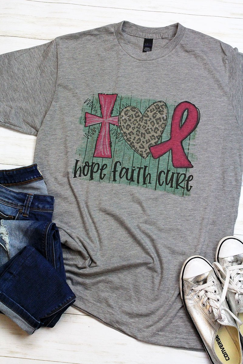 Hope, Faith, Cure Pink Ribbon Unisex Blend Tee
