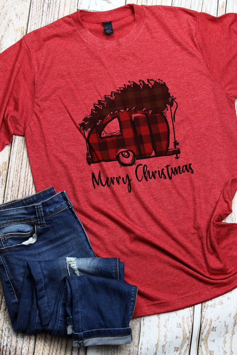 Buffalo Plaid Merry Christmas Camper Unisex Poly-Rich Blend Long Sleeve Tee