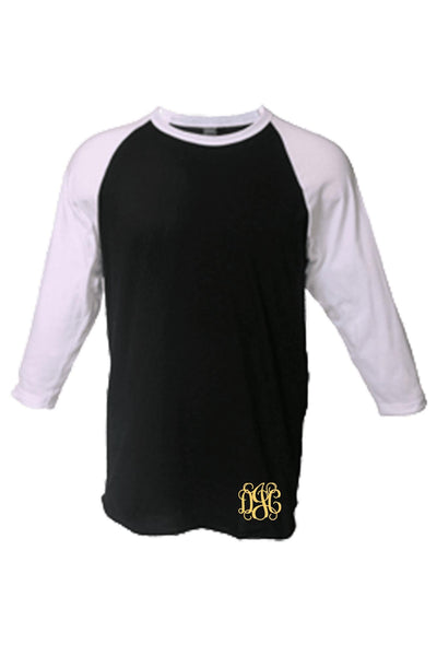 Tultex Unisex Fine Jersey Raglan Tee, Black/White #245 *Personalize It! (PLEASE ALLOW 3-5 BUSINESS DAYS. EXPEDITED SHIPPING N/A)