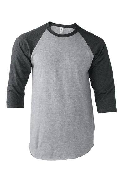 Tultex Unisex Fine Jersey Raglan Tee, Heather Gray/Heather Charcoal *Personalize It!