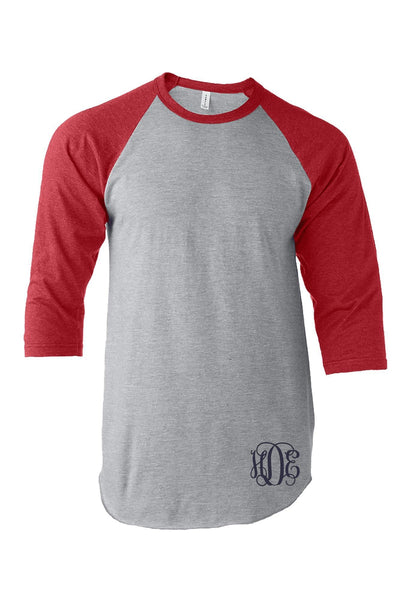 Tultex Unisex Fine Jersey Raglan Tee, Heather Gray/Heather Red #245 *Personalize It! (PLEASE ALLOW 3-5 BUSINESS DAYS. EXPEDITED SHIPPING N/A)