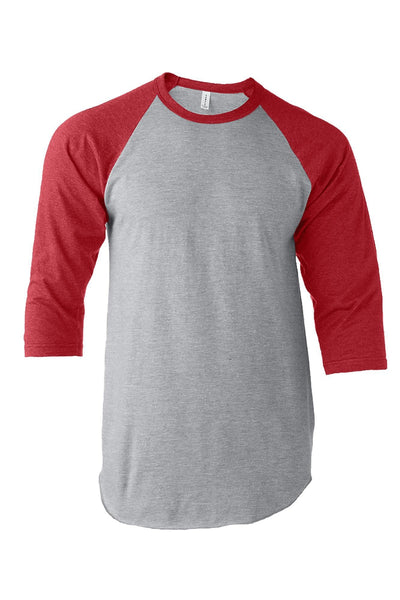 Tultex Unisex Fine Jersey Raglan Tee, Heather Gray/Heather Red *Personalize It!