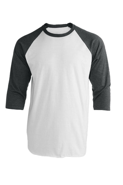Tultex Unisex Fine Jersey Raglan Tee, White/Heather Charcoal *Personalize It!