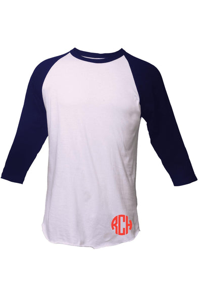 Tultex Unisex Fine Jersey Raglan Tee, White/Navy #245 *Personalize It! (PLEASE ALLOW 3-5 BUSINESS DAYS. EXPEDITED SHIPPING N/A)