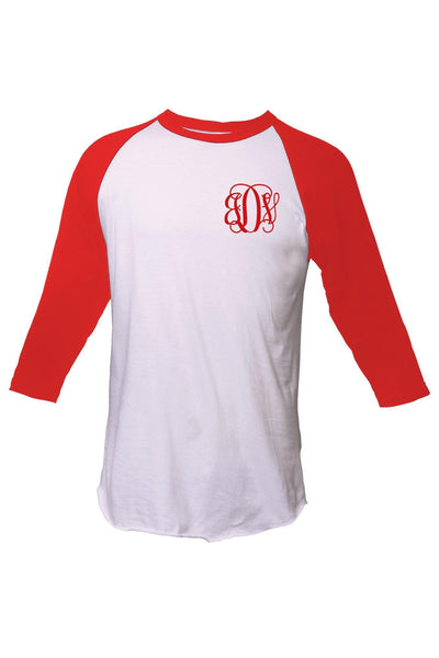 Tultex Unisex Fine Jersey Raglan Tee, White/Red #245 *Personalize It! (PLEASE ALLOW 3-5 BUSINESS DAYS. EXPEDITED SHIPPING N/A)
