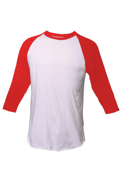 Tultex Unisex Fine Jersey Raglan Tee, White/Red *Personalize It!