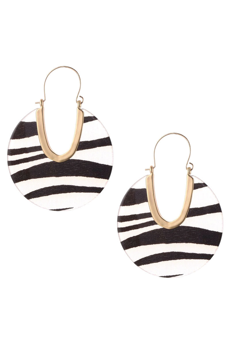 Zebra Cut-Out Disk Hoop Earrings