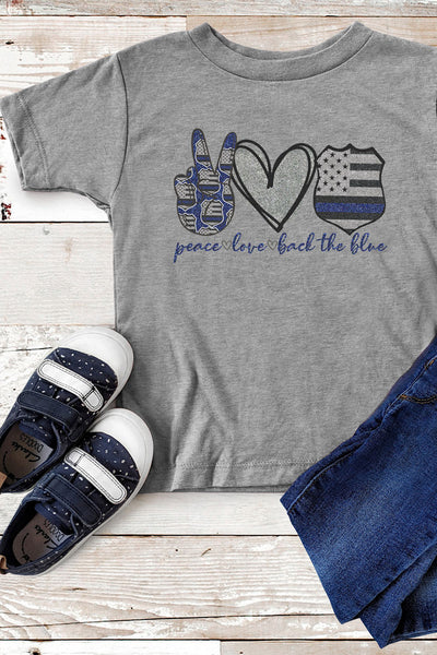 Peace Love Back The Blue Youth Poly-Rich Blend Tee
