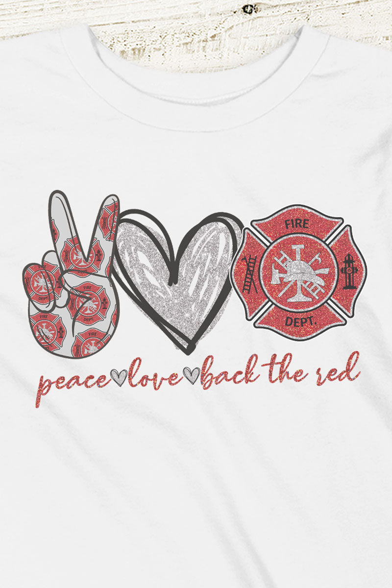 Youth Peace Love Back The Red Poly-Rich Blend Tee