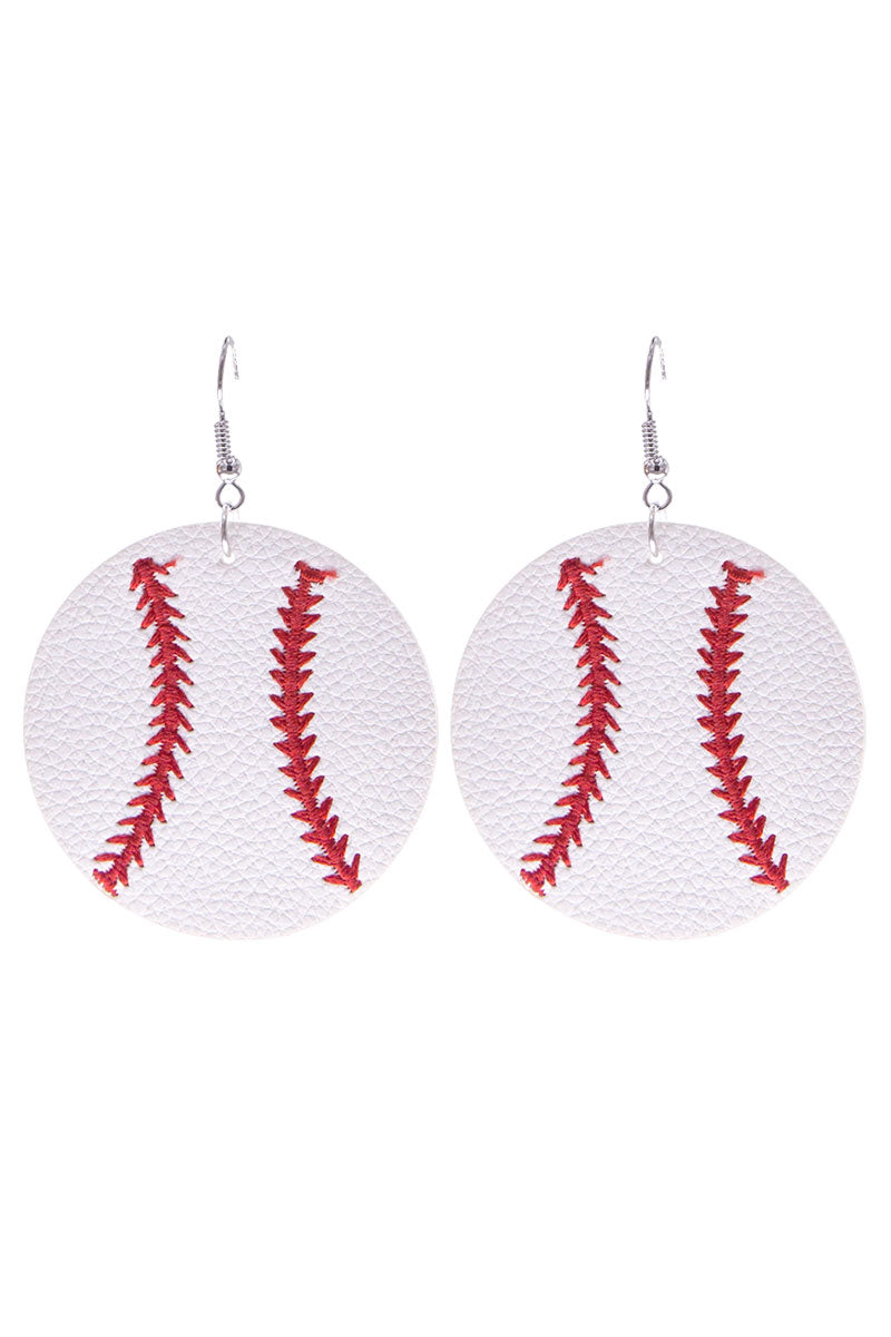 Baseball Faux Leather Earrings