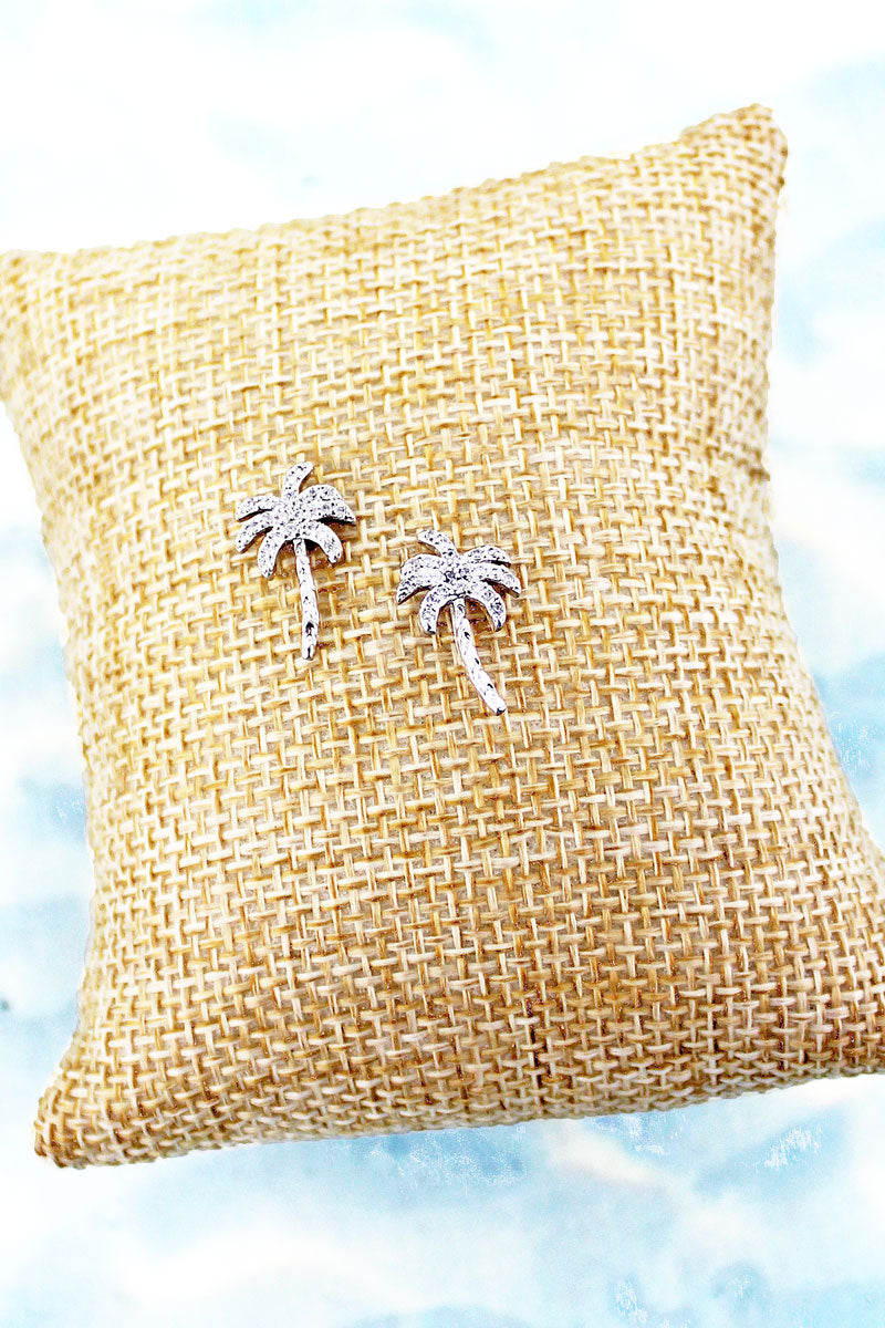 Cubic Zirconia and Silvertone Palm Tree Stud Earrings