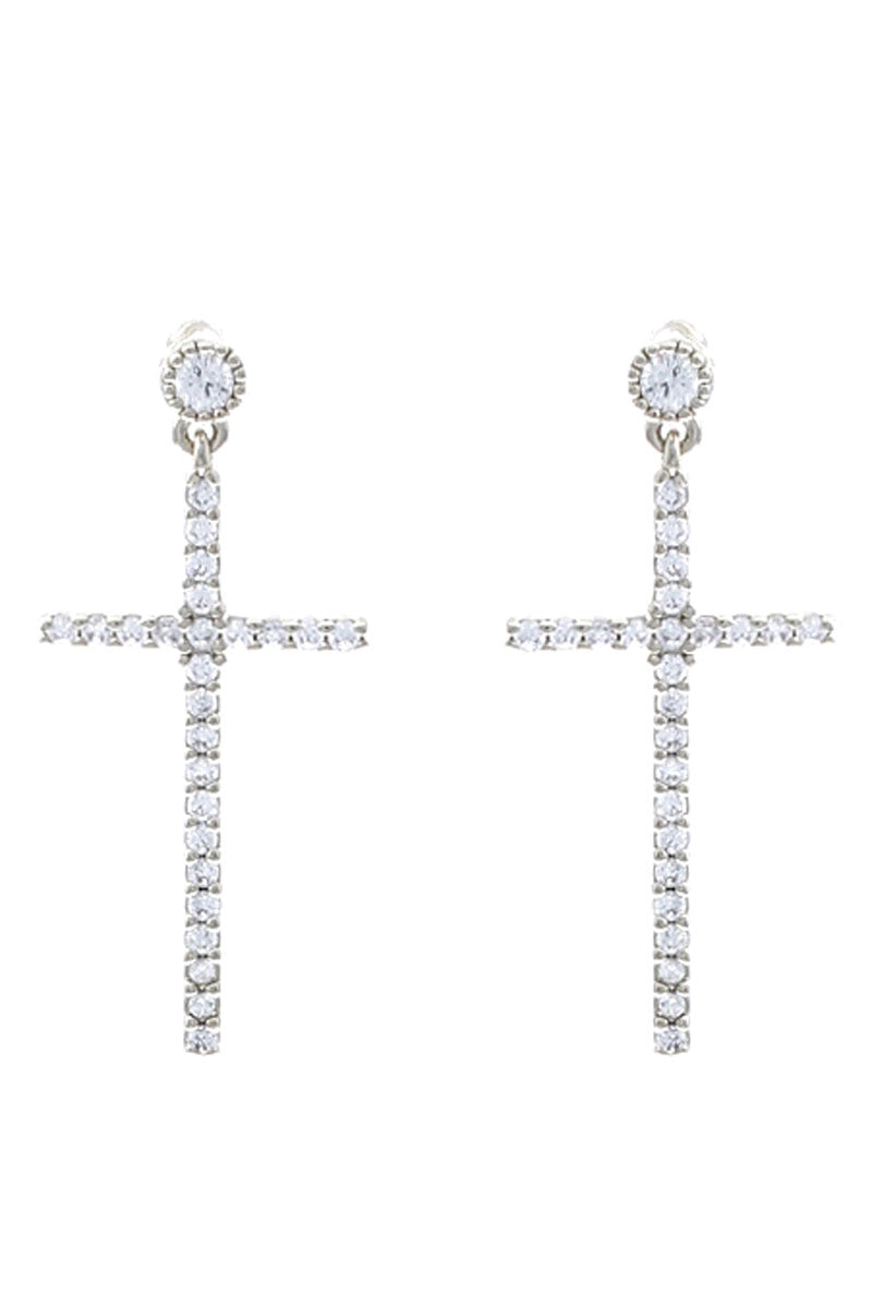 Cubic Zirconia Pave Silvertone Cross Earrings