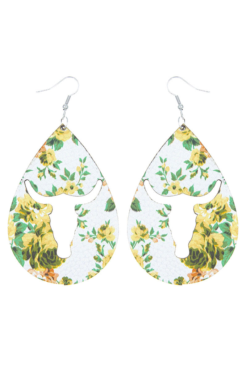 Cut-Out Steer Yellow Rose Teardrop Earrings