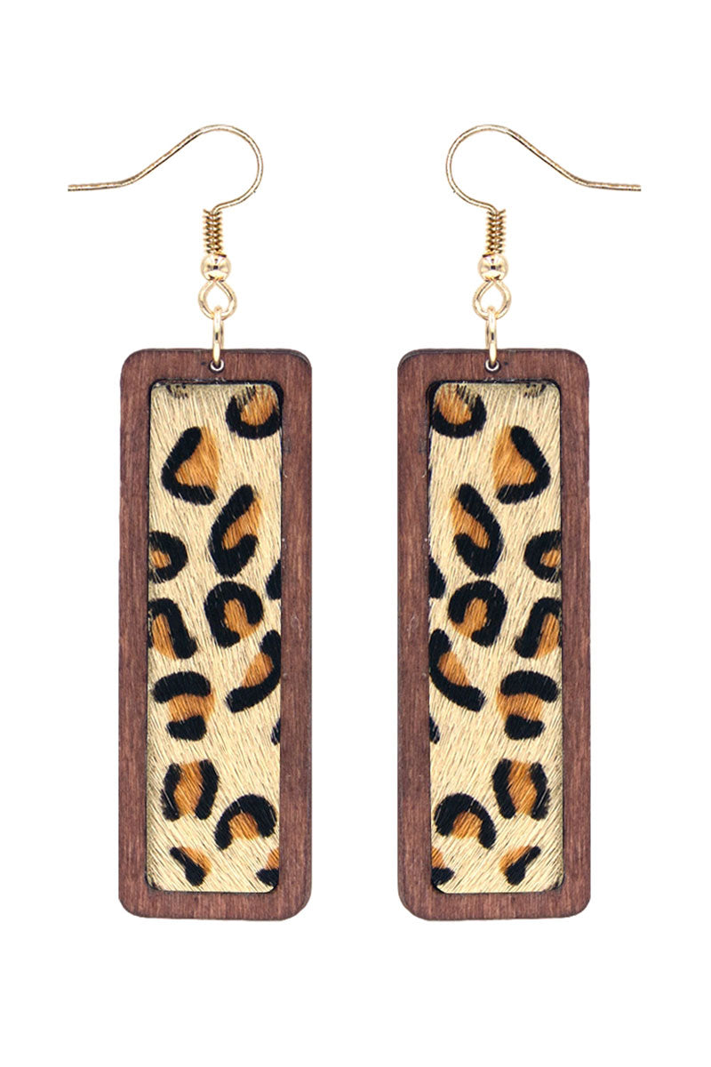 Leopard and Wood Bar Earrings