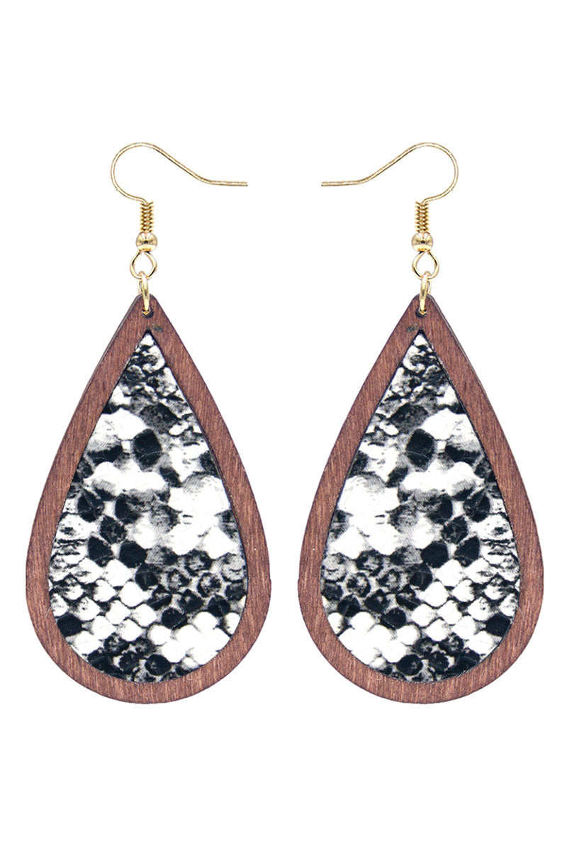 White Snakeskin and Wood Teardrop Earrings