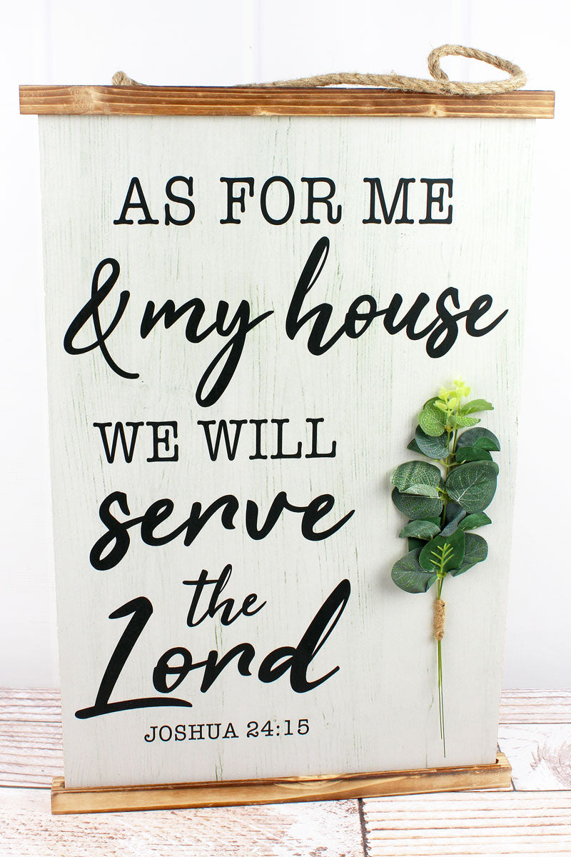 23.5 x 15.75 'Serve The Lord' Botanical Wood Banner Wall Sign