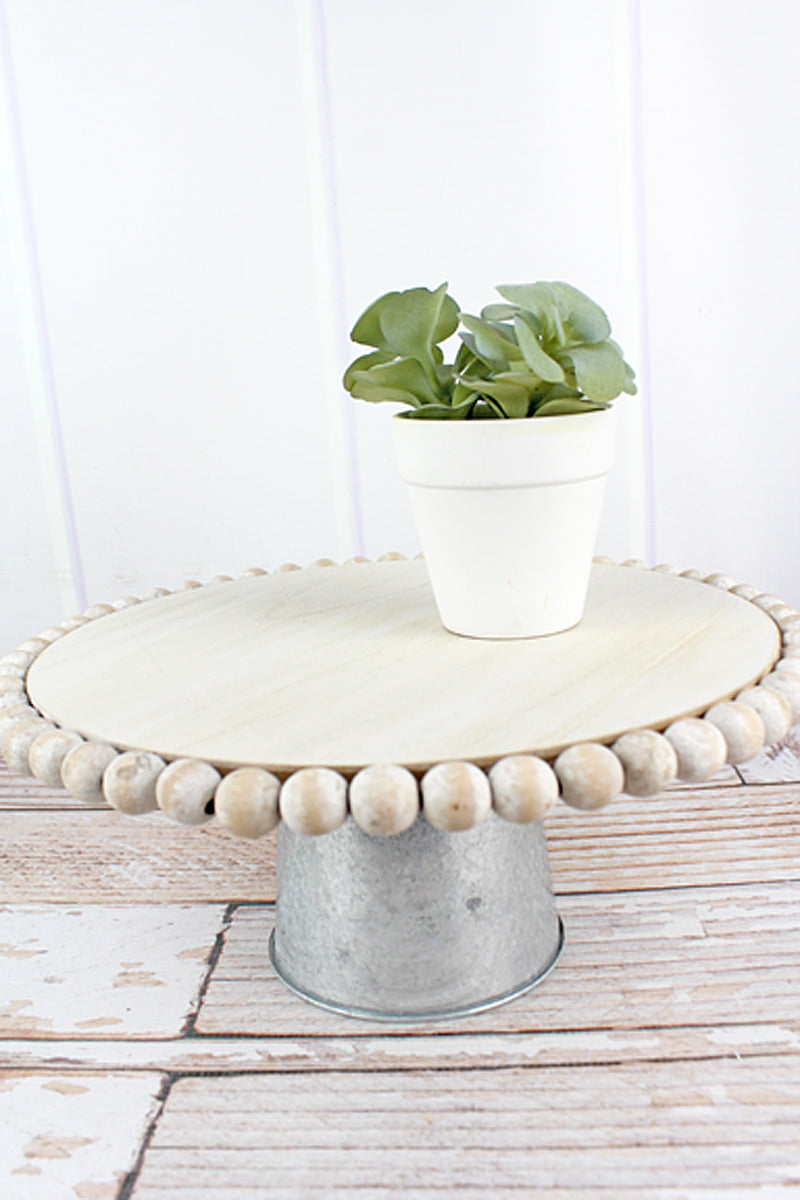 5.75 x 13 Wood Beaded and Metal Pedestal Tray