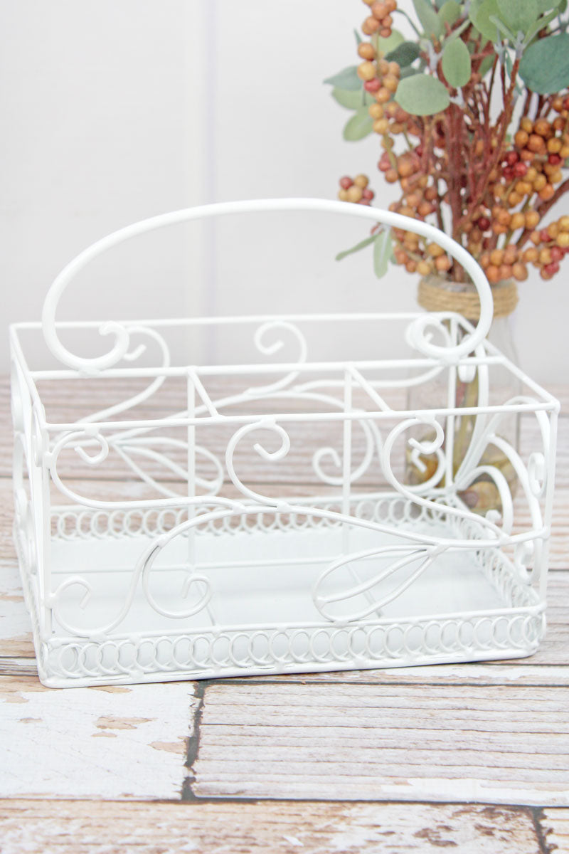 8 x 8.5 White Wire Utensil Holder