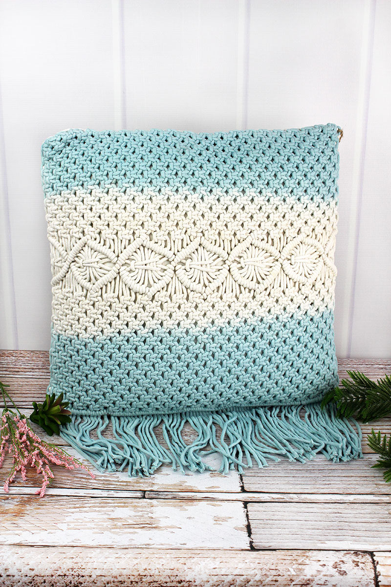 18 x 18 Blue and White Macrame Fringed Decorative Pillow