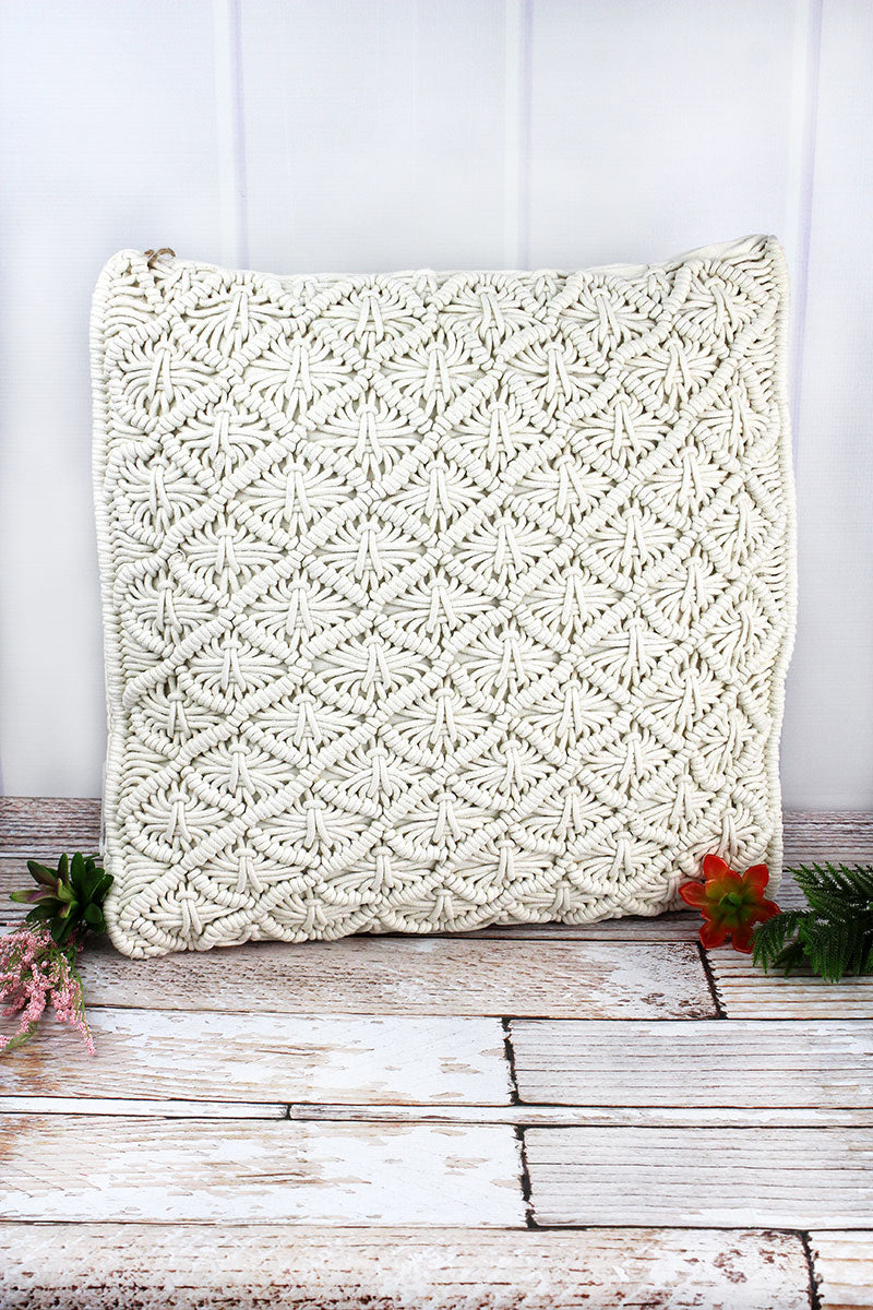 18 x 18 Diamond Macrame Decorative Pillow