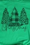 Black Merry Christmas Leopard Trees Unisex Dri-Power Long-Sleeve 50/50 Tee