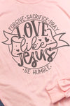 Doodle Love Like Jesus Unisex Dri-Power Long-Sleeve 50/50 Tee