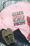 Joyful Merry Blessed Retro Unisex Dri-Power Long-Sleeve 50/50 Tee