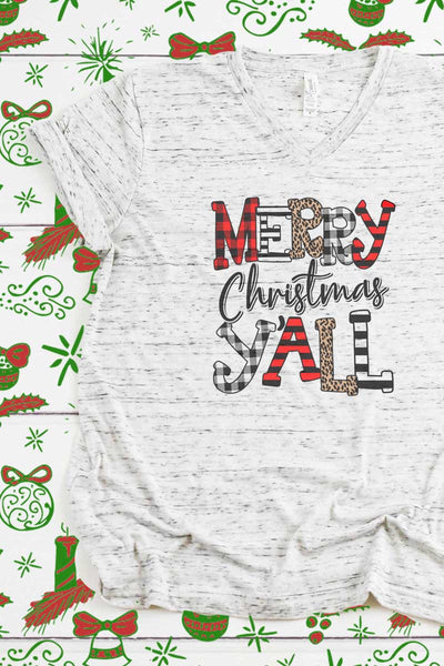 Doodle Merry Christmas Y'all Unisex V-Neck Tee