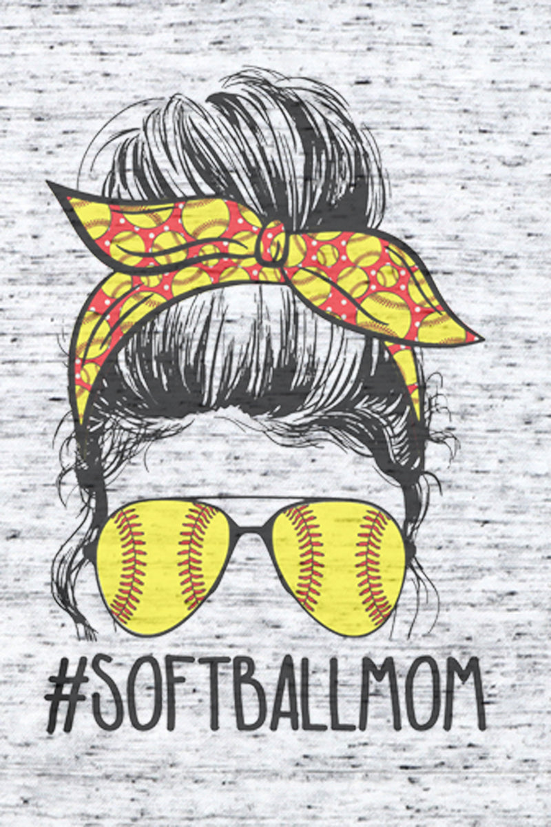 Messy Bun Softball Mom Unisex V-Neck Tee