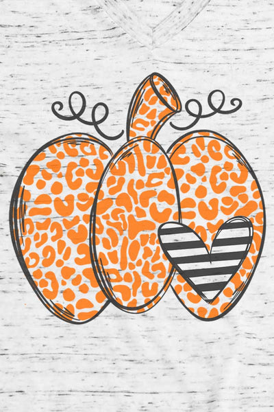Spotted Pumpkin Heart Unisex V-Neck Tee