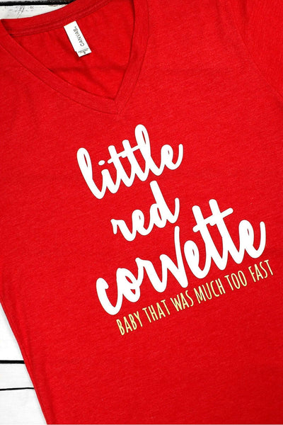 Little Red Corvette Unisex V-Neck Tee #3005 (PLEASE ALLOW 3-5 BUSINESS DAYS. EXPEDITED SHIPPING N/A)