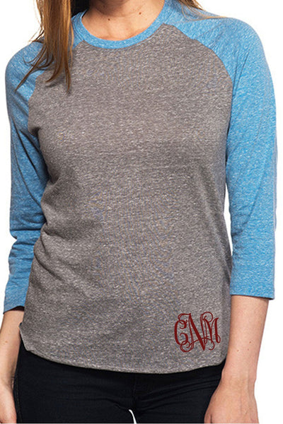 Threadfast Unisex Triblend 3/4-Sleeve Raglan, Gray/Royal Triblend #302G *Personalize It