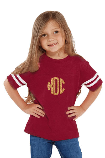 Rabbit Skins Toddler Fine Jersey Football Tee, Burgundy/White #3037 *Personalize It