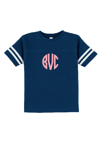 Rabbit Skins Toddler Fine Jersey Football Tee, Navy/White #3037 *Personalize It
